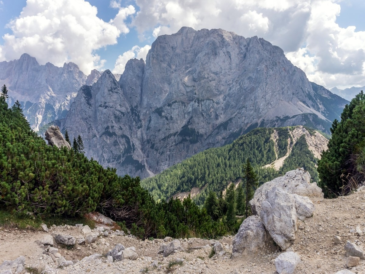 Mount Prisank view from Vratca Pass on Slemenova Spica hike in Julian Alps