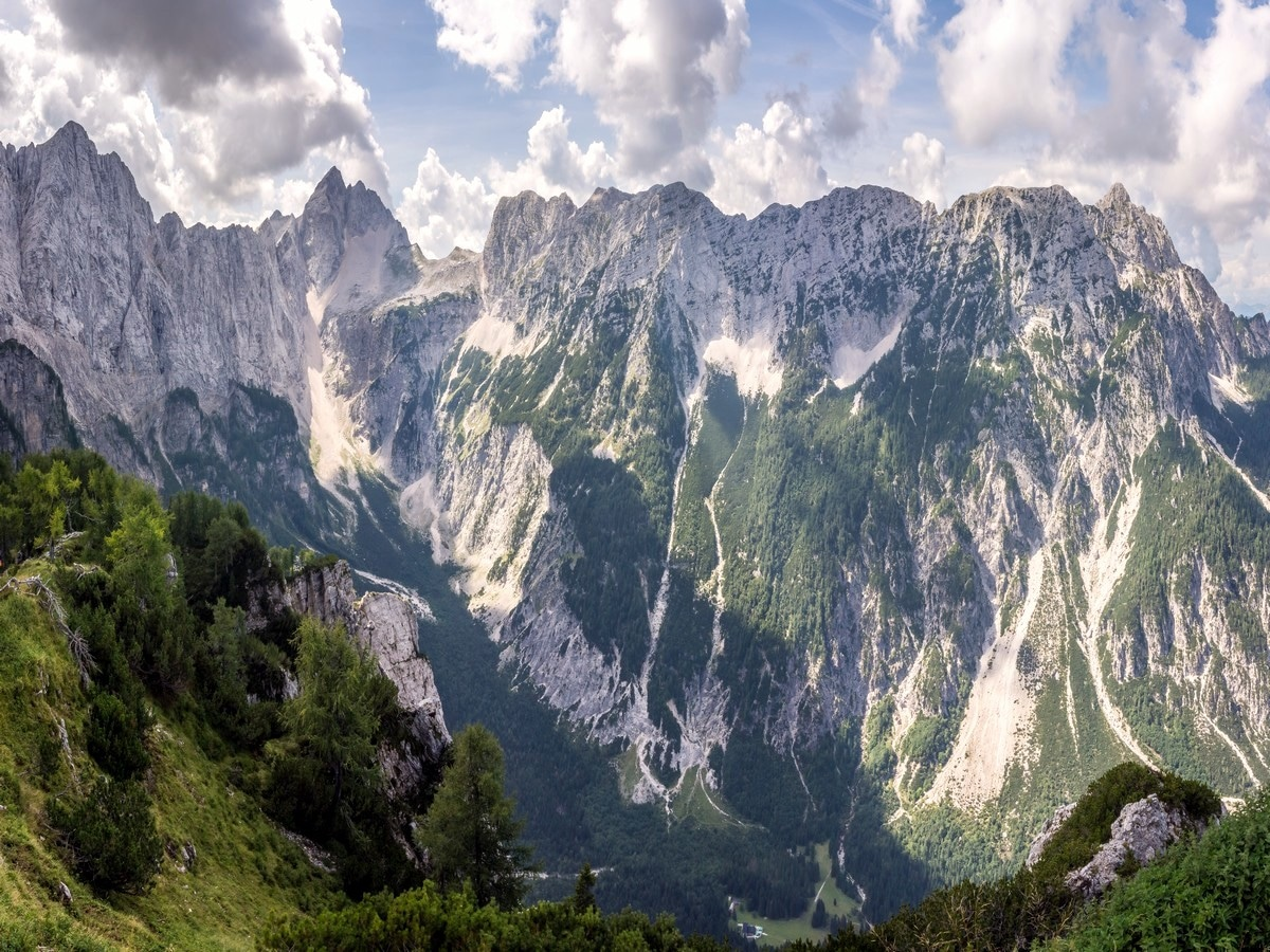 Tamar valley surrounded by high peaks on Slemenova Spica hike in Julian Alps