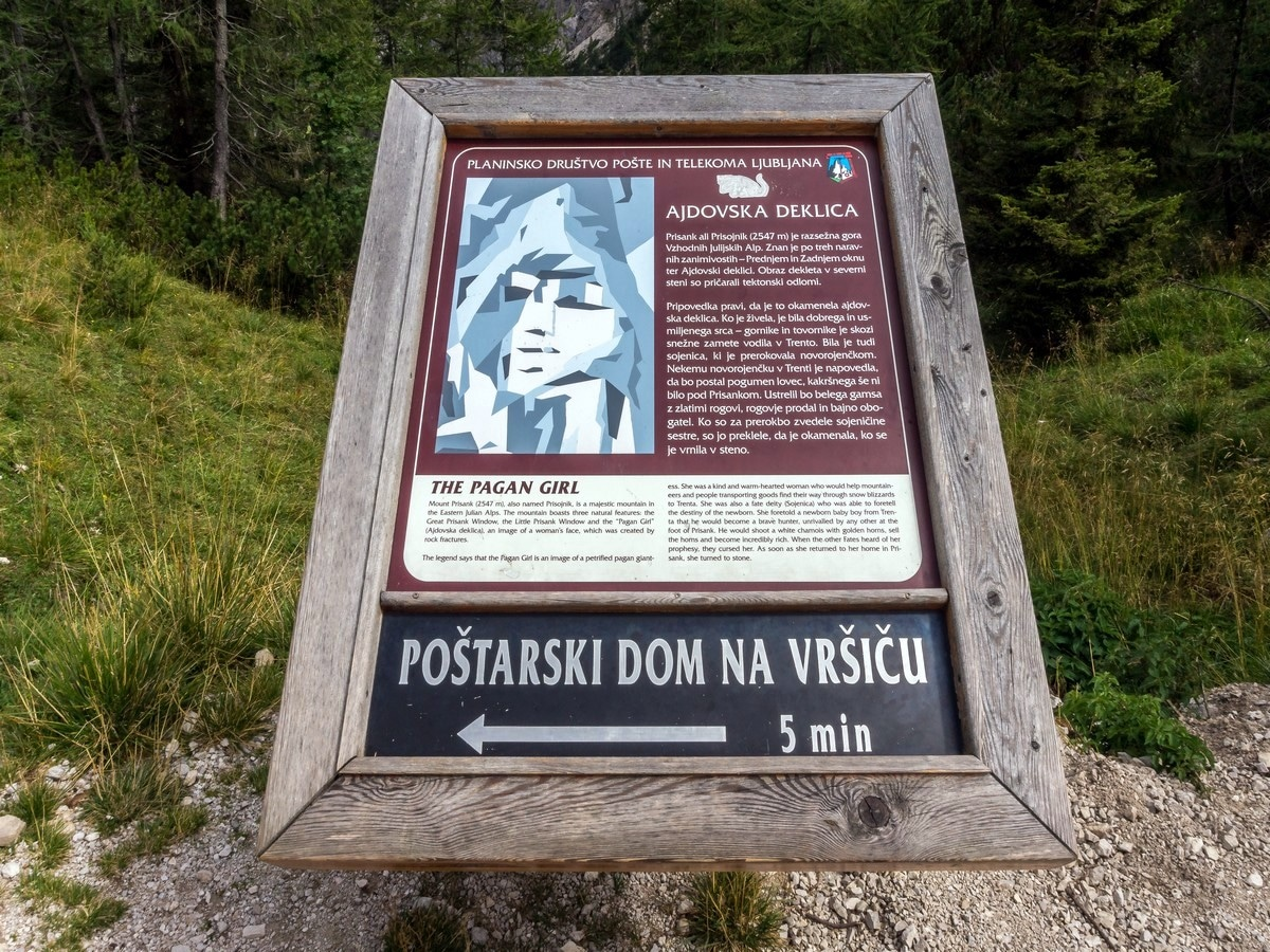 Information sign of the Path of The Pagan Girl Hike in Julian Alps, Slovenia