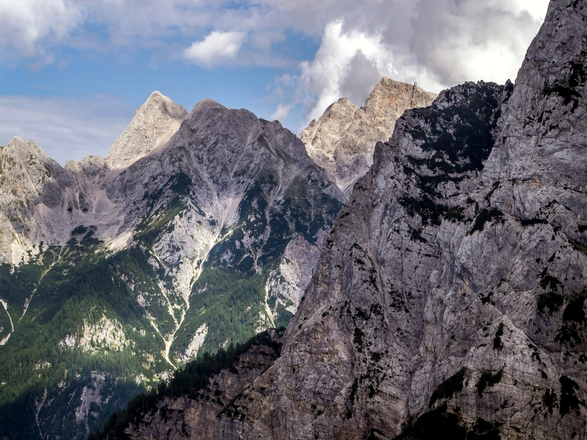 View to Mount Špik and Mount Škrlatica on Path of The Pagan Girl Hike in Julian Alps, Slovenia