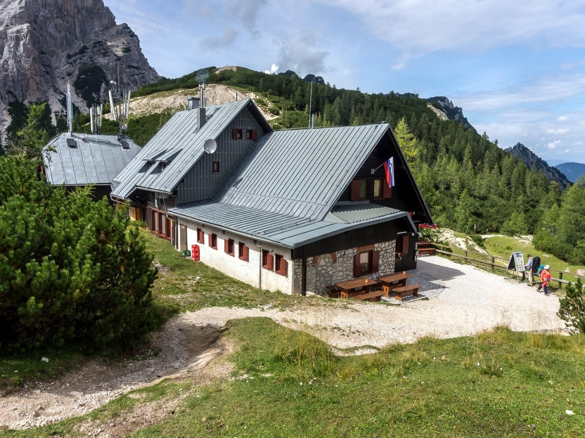 The Poštarski dom hut on Path of The Pagan Girl Hike in Julian Alps, Slovenia