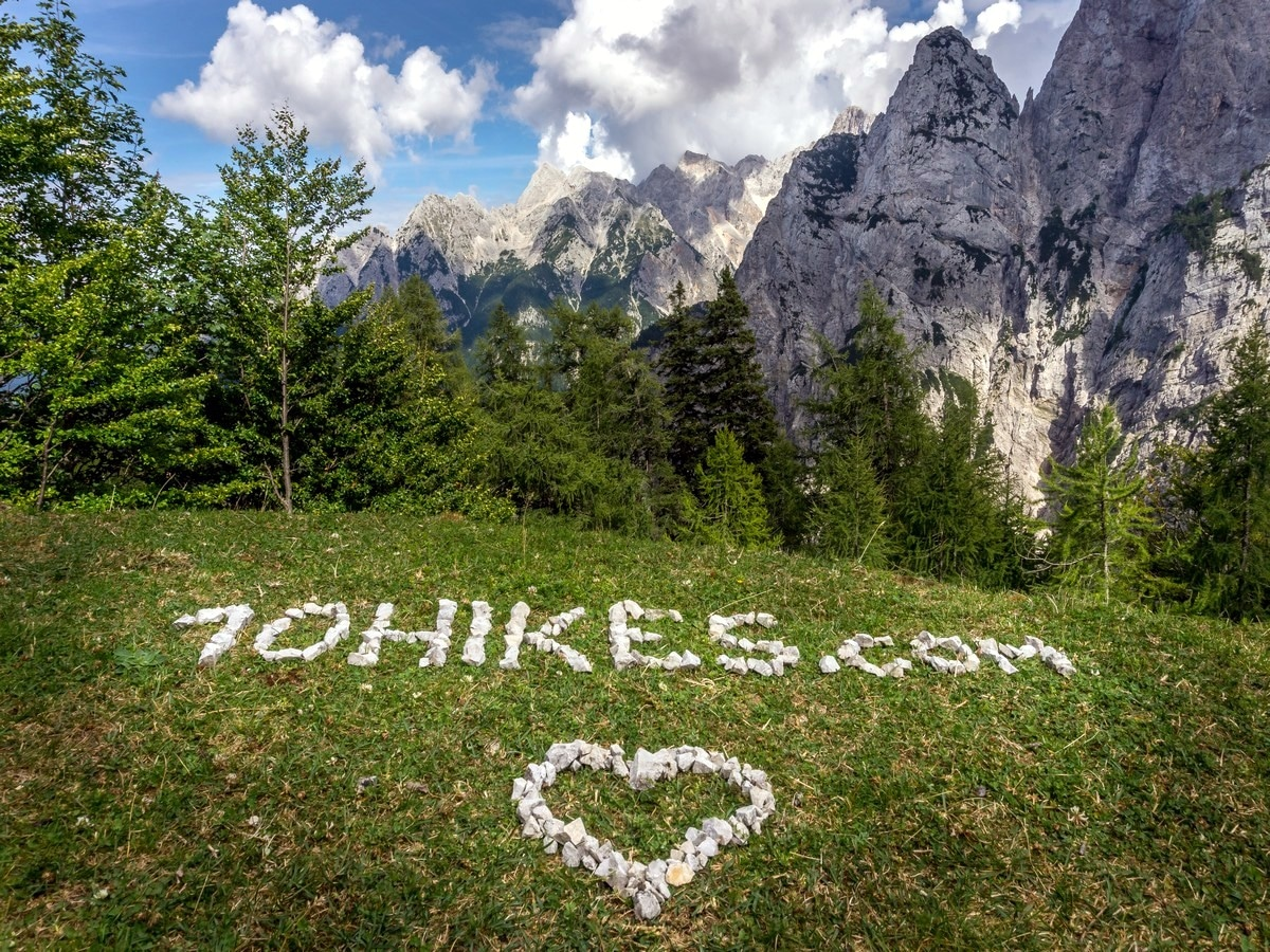 The artwork at Vršic on Path of The Pagan Girl Hike in Julian Alps, Slovenia
