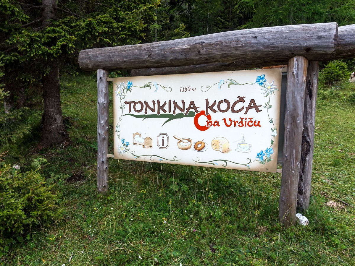 At Tonka's hut on Path of The Pagan Girl Hike in Julian Alps, Slovenia