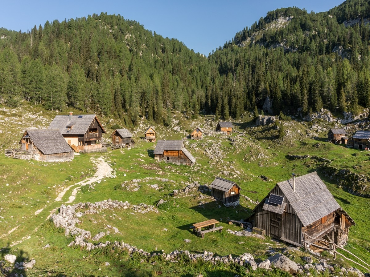 Dedno Polje pasture on the Valley of The Seven Lakes Hike in Julian Alps, Slovenia