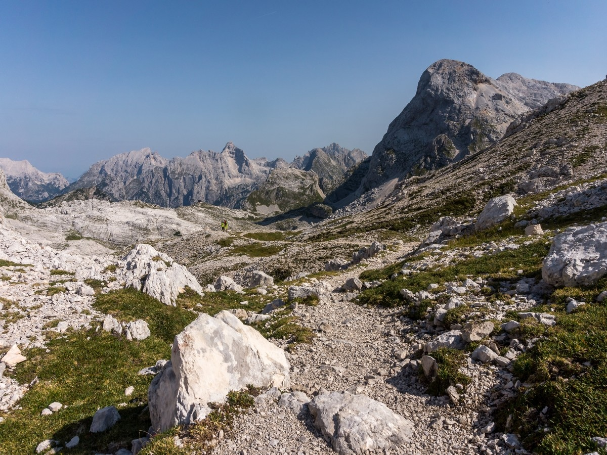 View north at Vrata Saddle on the Valley of The Seven Lakes Hike in Julian Alps, Slovenia