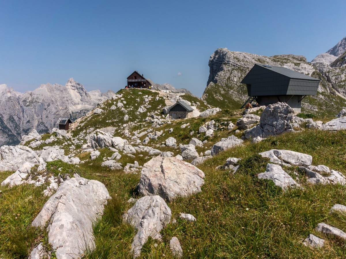 Zasavska hut at Prehodavci with winter bivouac on the Valley of The Seven Lakes Hike in Julian Alps, Slovenia