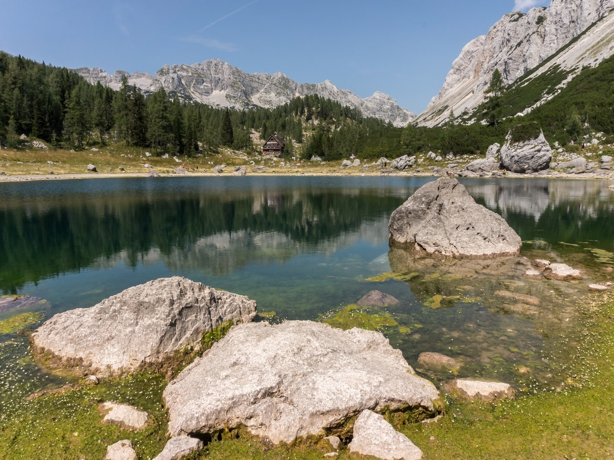 Triglav Lakes hut at Dvojno Jezero (Double lake) on the Valley of The Seven Lakes Hike in Julian Alps, Slovenia
