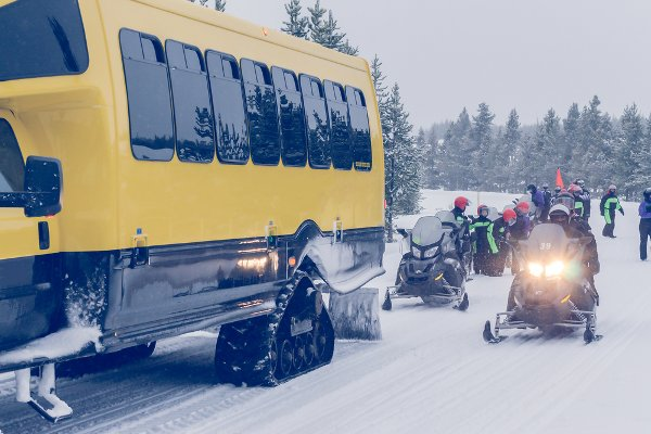 Snowmobilers exploring Yellowstone in winter