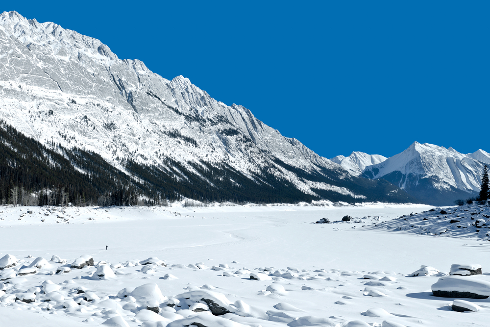 Snowshoeing on Medicine Lake near Jasper