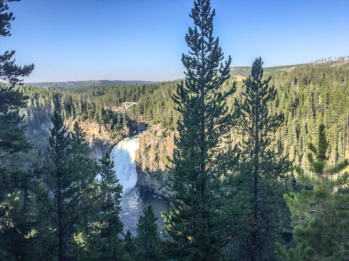 View from the mountain at South Rim Hike in Yellowstone National Park