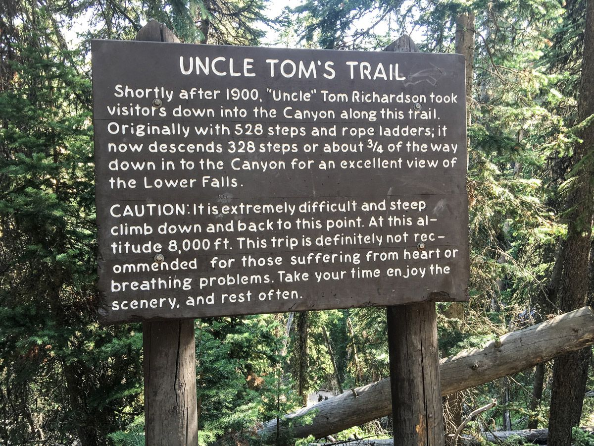 Information and warning sign on Sky Rim Hike in Yellowstone National Park