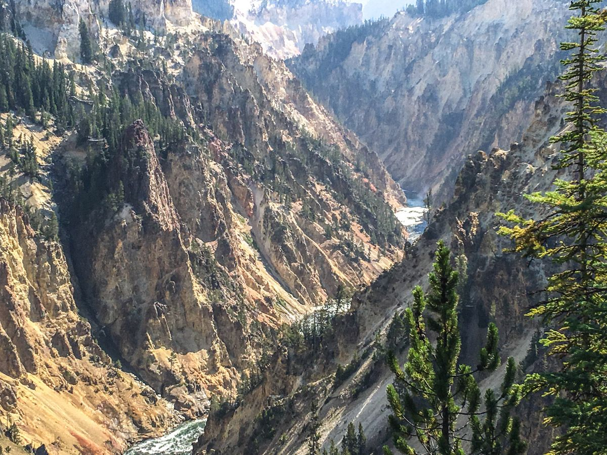 Beautiful panorama of the South Rim Hike in Yellowstone National Park, Wyoming