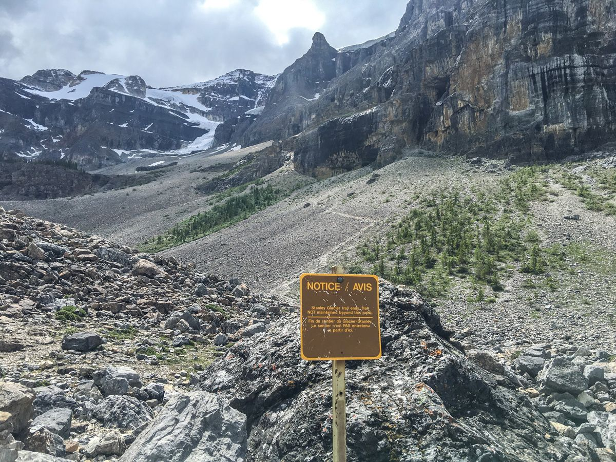 Sign on the Stanley Glacier Hike in Kootenay National Park, Canadian Rocky Mountains