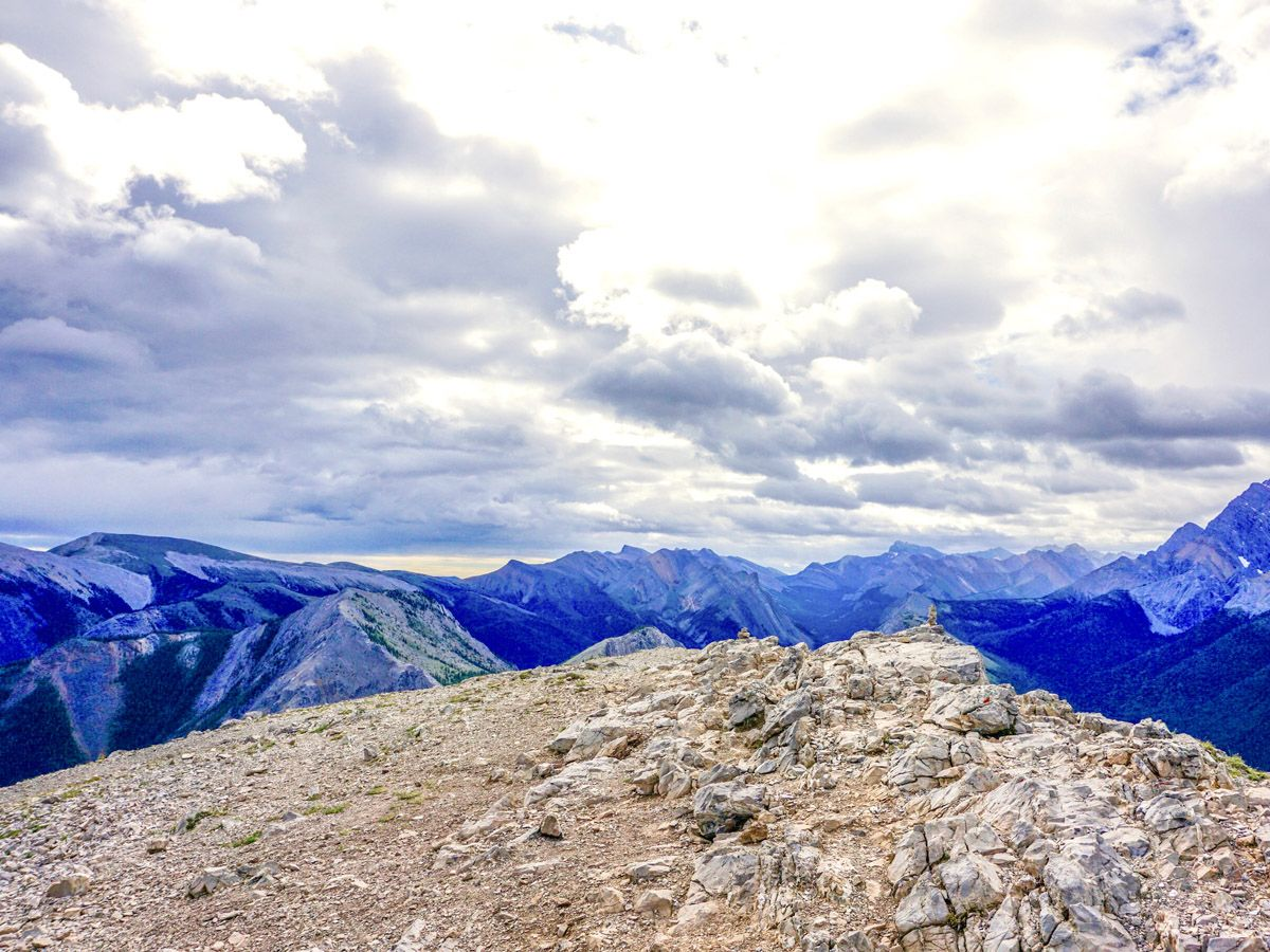 Clouds over the mountain on the Sulphur Skyline Hike in Jasper National Park