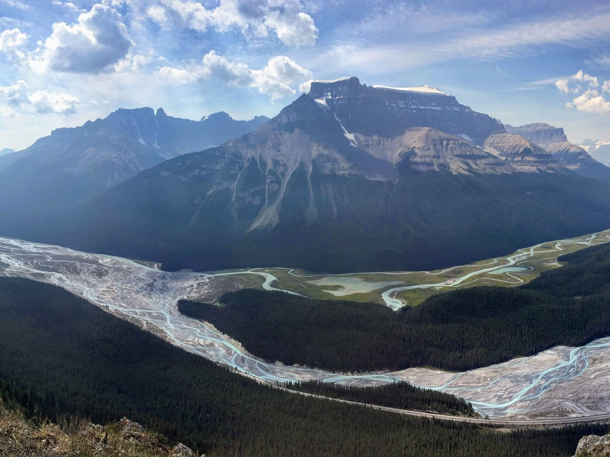 View over north Saskatchewan and Alexandra Rivers from the Sunset Viewpoint and Pass Hike from the Icefields Parkway near Banff National Park