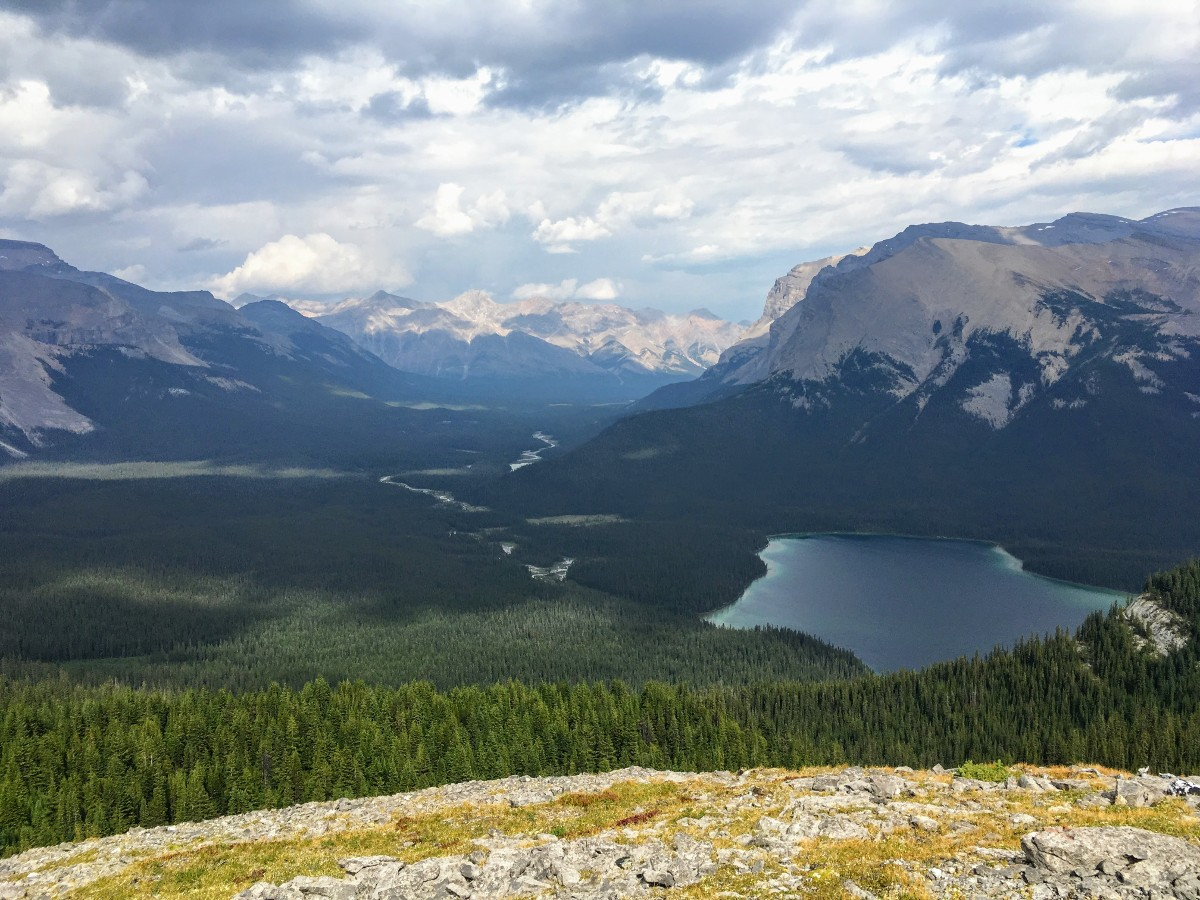View of Pinto Lake from the Sunset Viewpoint and Pass Hike from the Icefields Parkway near Banff National Park