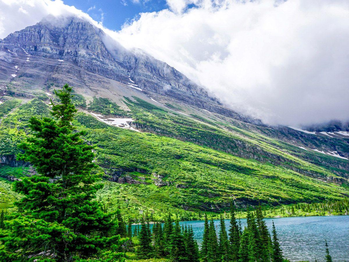 Swiftcurrent Pass Hike at Glacier National Park has amazing mountain views