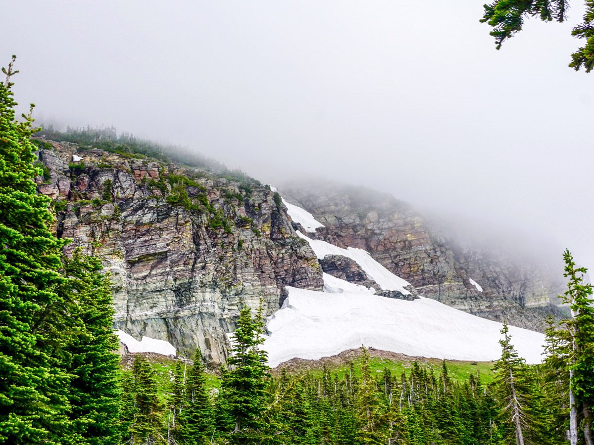 Mountain snow at Swiftcurrent Pass Hike at Glacier National Park