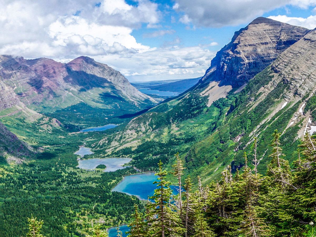 View from the mountain top at Swiftcurrent Pass Hike at Glacier National Park