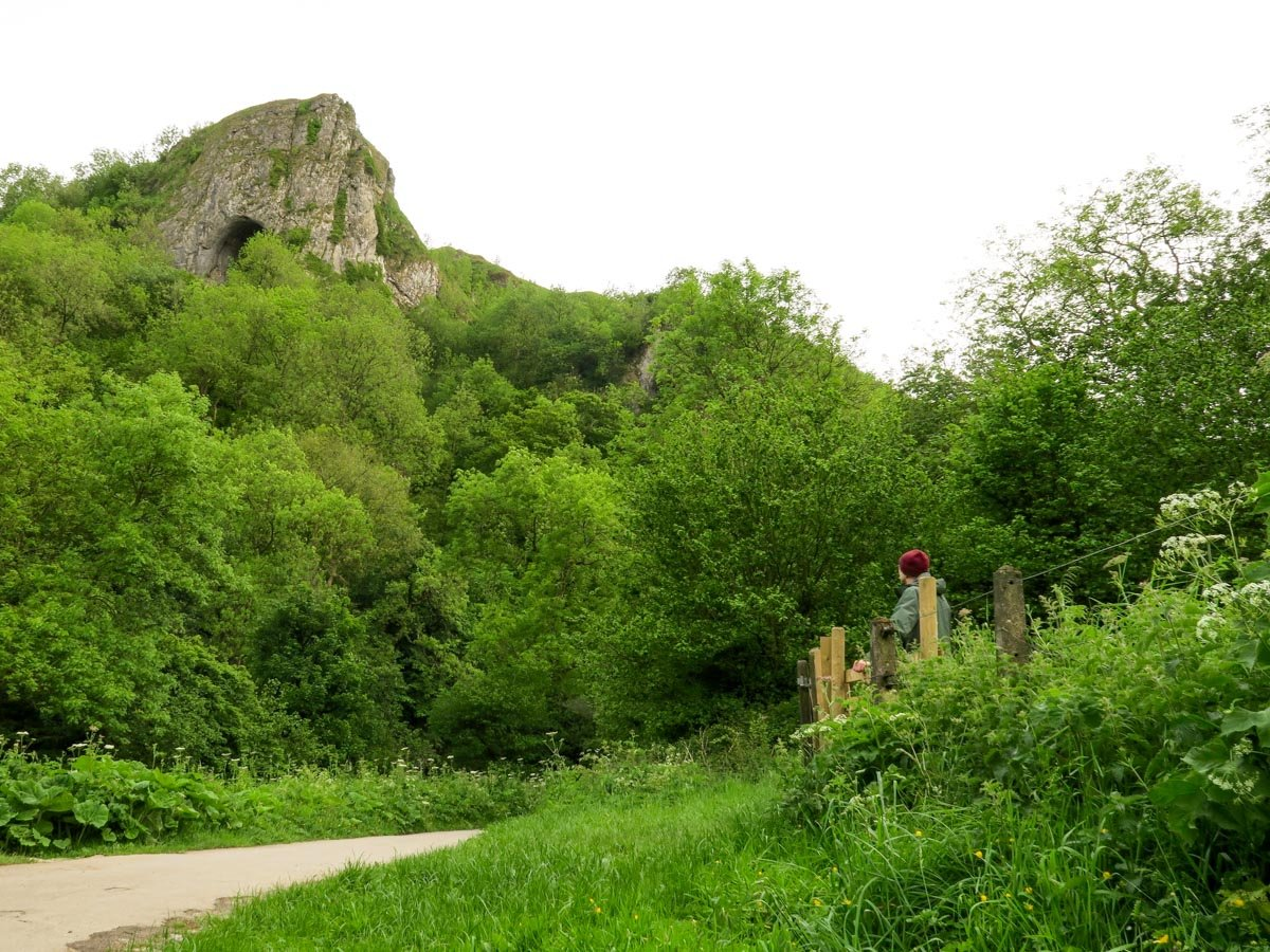 Looking back to Thor's Cave from Manifold Way on Thor's Cave and The Manifold Valley Hike in Peak District, England