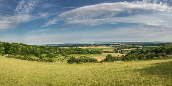 Panorama from the Aston Rowant hike in Chiltern Hills, England
