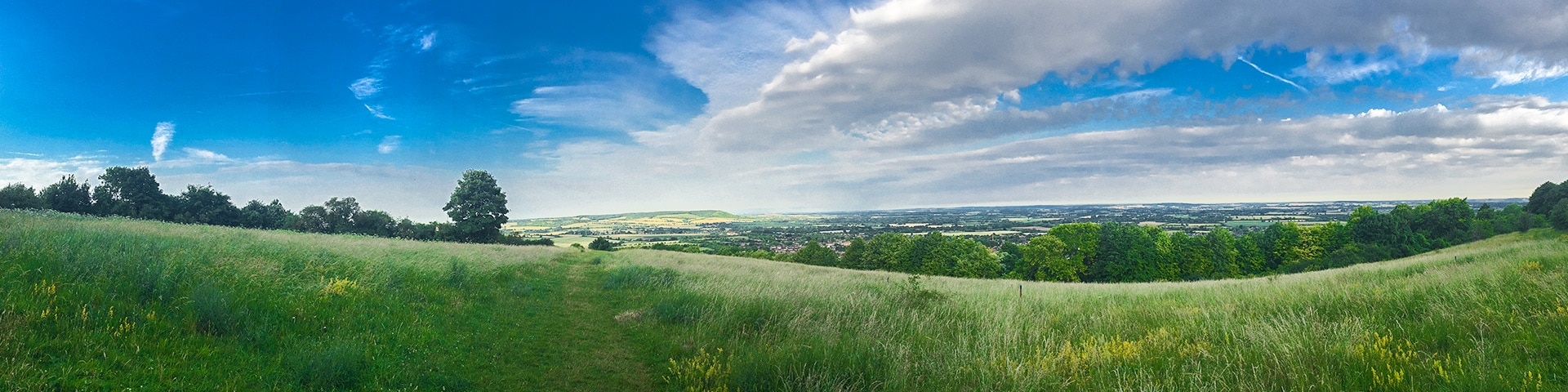 Panoramic views from the Brush Hill & White Leaf Nature Reserve hike in Chiltern Hills, England