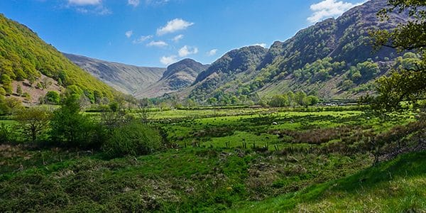 Scenery from the Langstrath Valley hike in Lake District, England