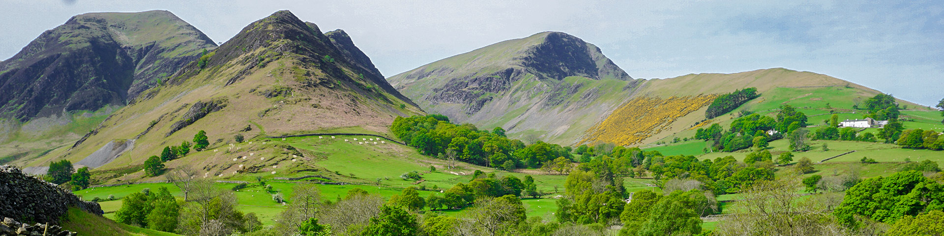 Panorama of the Newlands Horseshoe hike in Lake District, England
