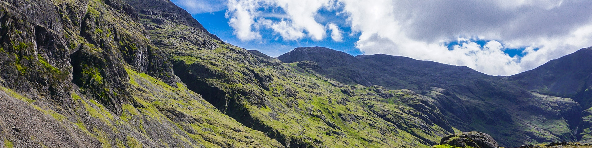 Panorama from the Scafell Pike hike in Lake District, England