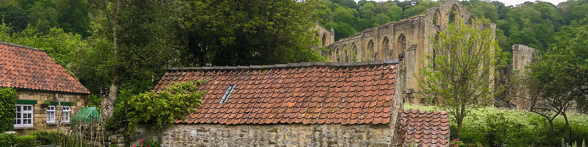 Panoramic views of the Helmsley to Rievaulx Abbey walk in North York Moors, England