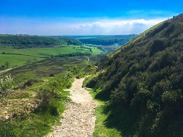 Views of the Hole of Horcum walk in North York Moors, England