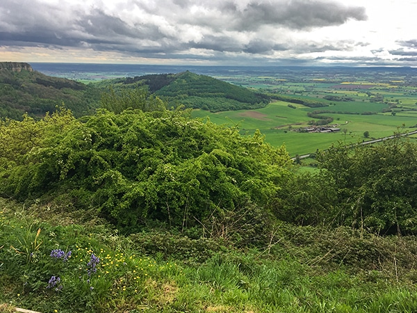 Views from the Sutton Bank, White Horse of Kilburn and Gormire Lake walk in North York Moors, England