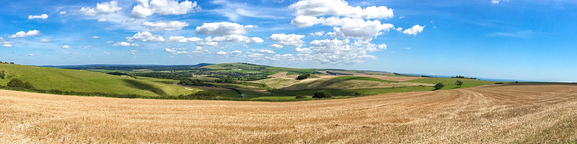 Panorama of the Amberley to Shoreham-by-Sea walk in South Downs, England