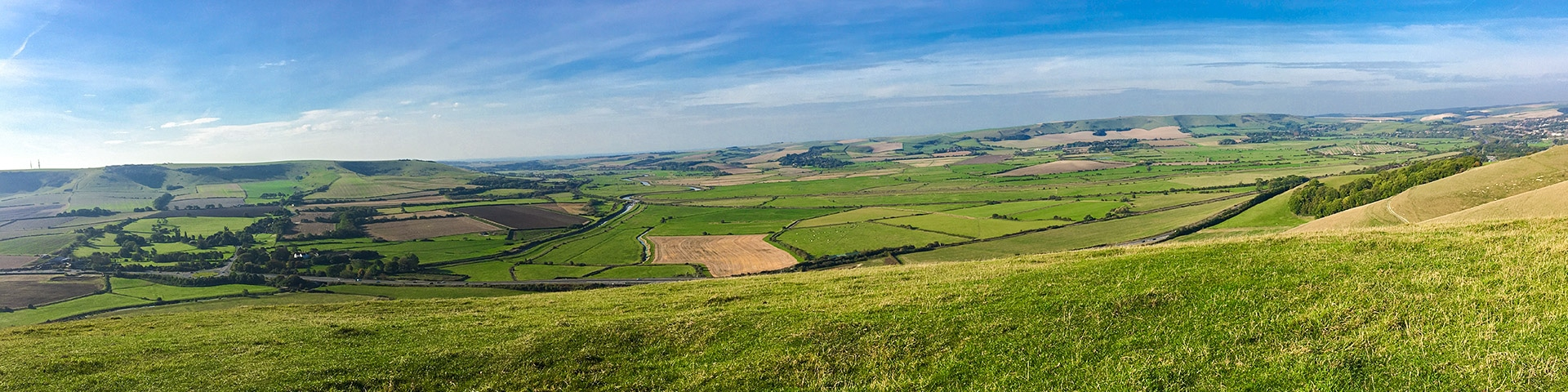 Panorama of the Glynde and Mount Caburn walk in South Downs, England