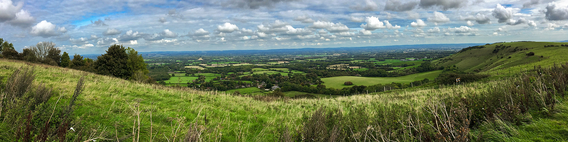 Panoramic views from the Hassocks to Lewes walk in South Downs, England