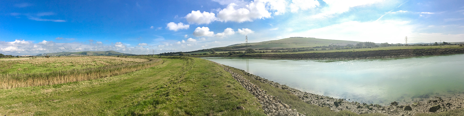 Panorama from the Southease and the River Ouse walk in South Downs, England