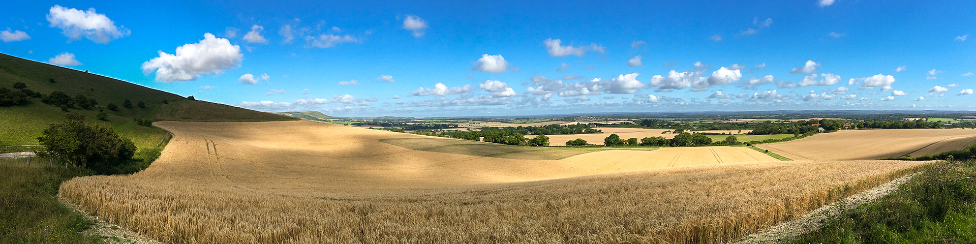 Panorama of the Long Man of Wilmington walk in South Downs, England