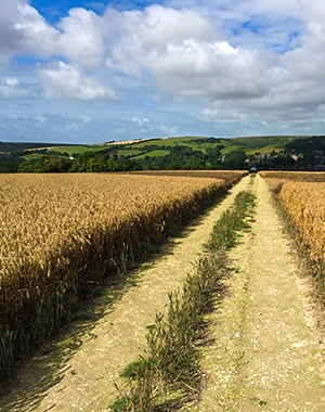 The Long Man of Wilmington walk in South Downs, England