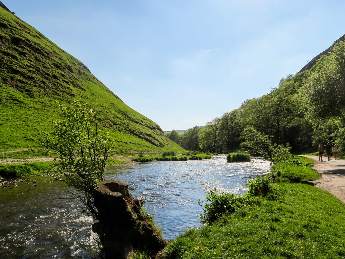 Trailhead at the River dove on Dovedale Circular walk in Peak District, England