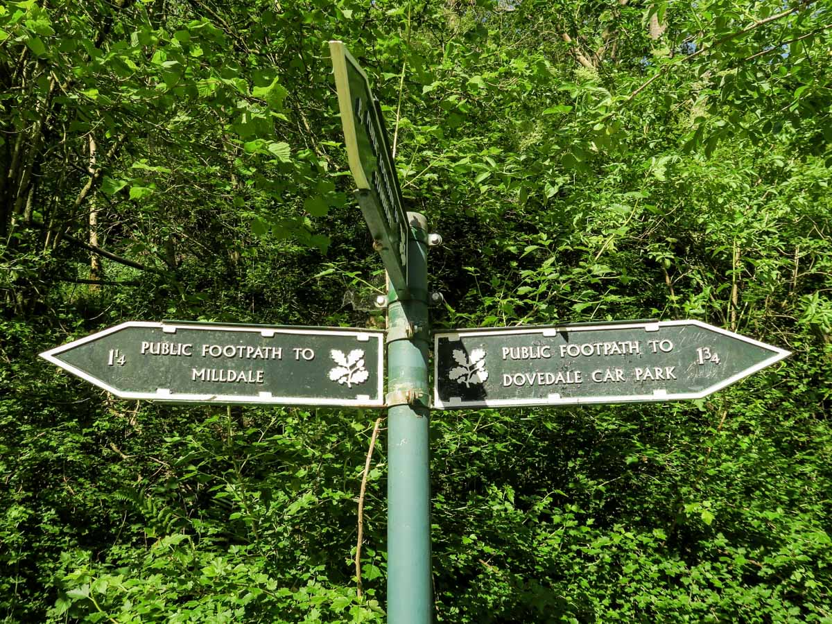 Signpost near the trailhead of the Dovedale Circular Hike in Peak District, England