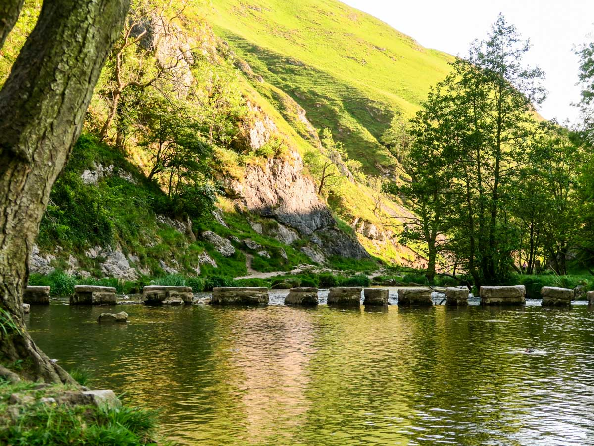 The stepping stones of the Dovedale Circular Hike in Peak District, England