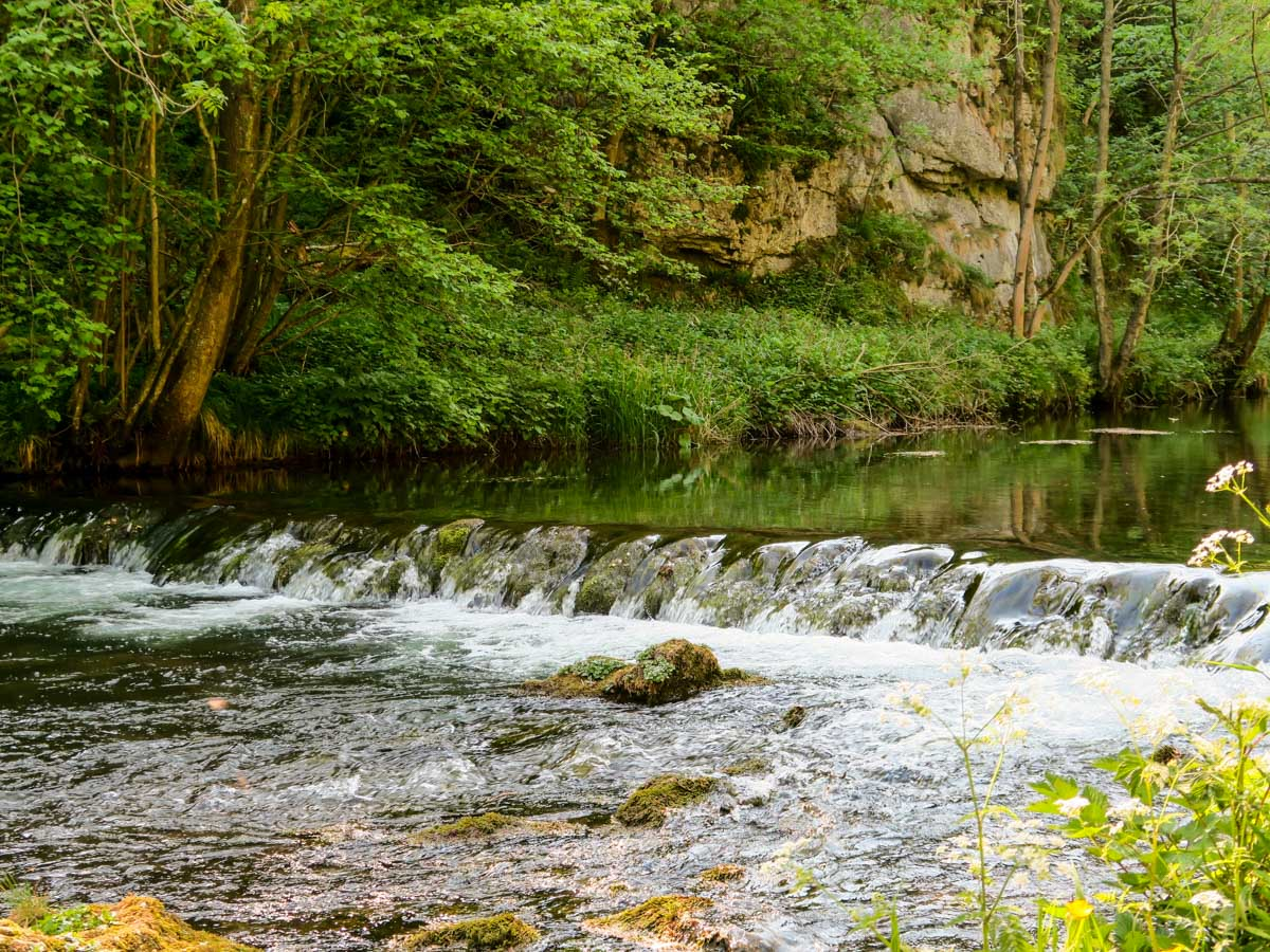 River Weir along the Dovedale Circular Hike in Peak District, England