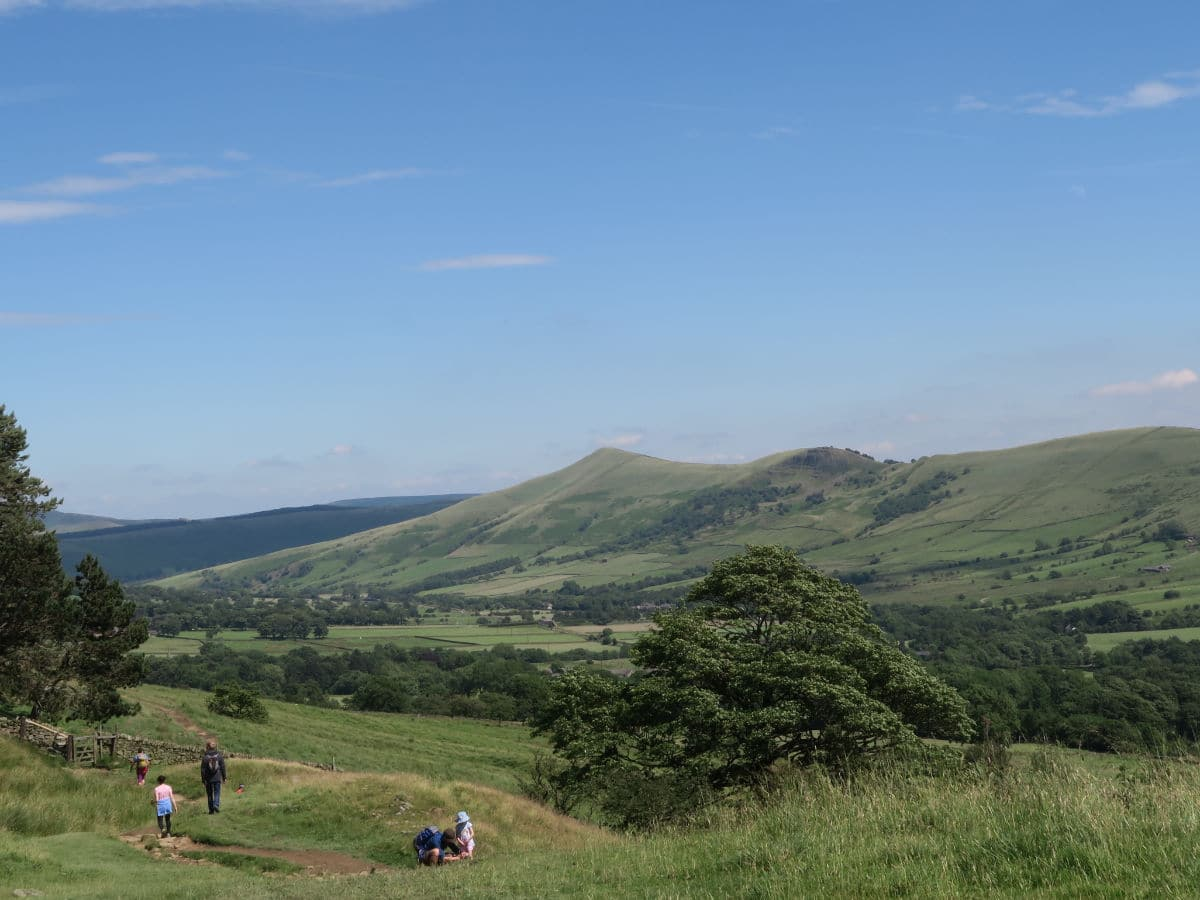 View from the Vale of Edale on Great Ridge and Win Hill Hike in Peak District, England