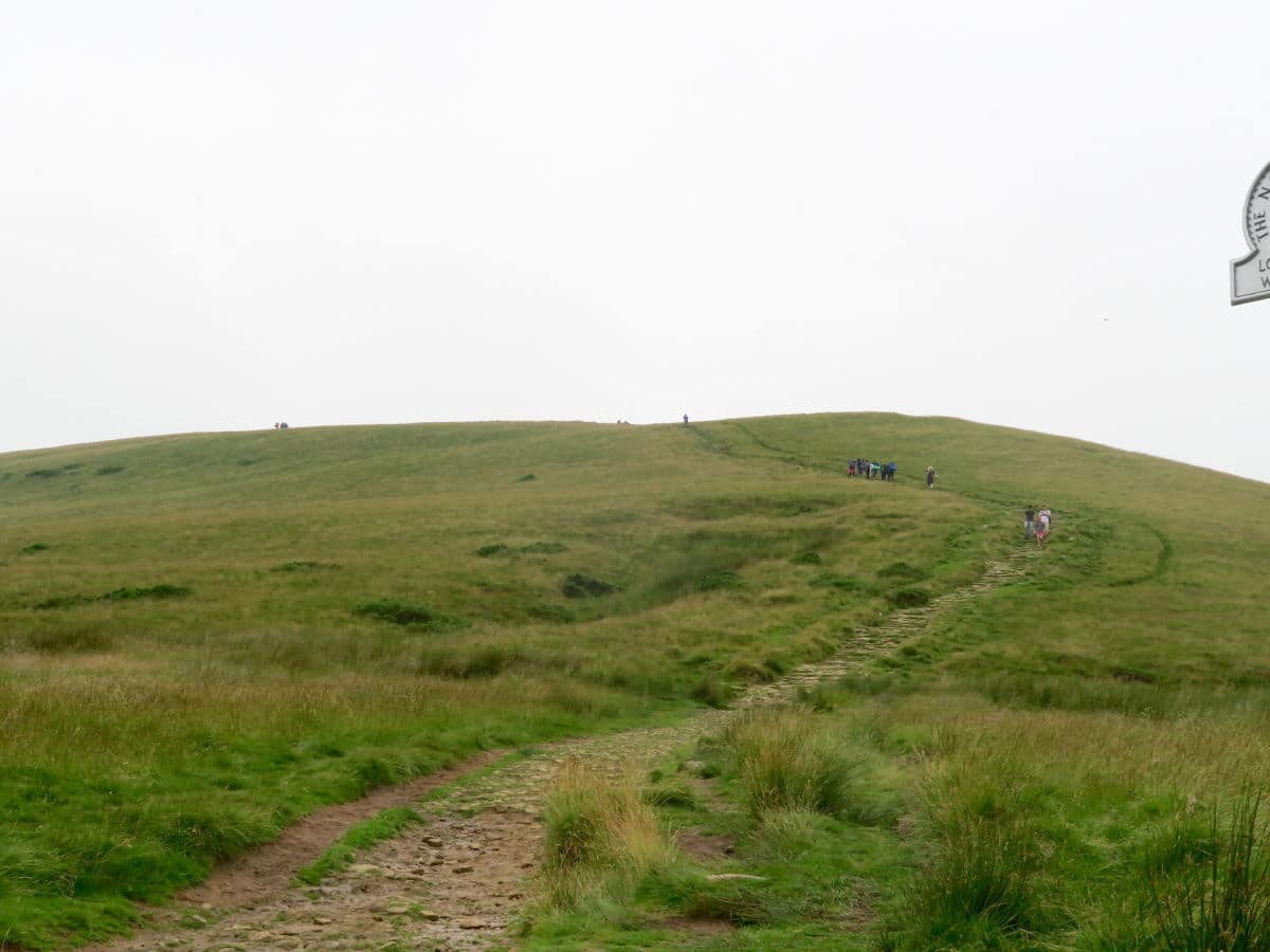 Approaching the top of the Great Ridge and Win Hill Hike in Peak District, England