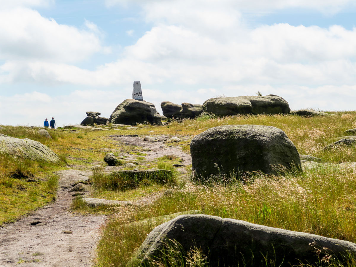 Low trig of the Kinder Scout Hike in Peak District, England