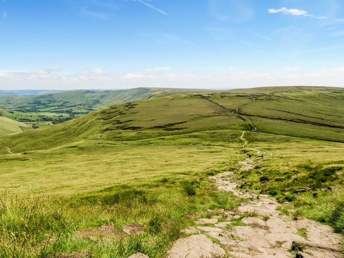 Descending off Edale Rocks on the Kinder Scout Hike in Peak District, England
