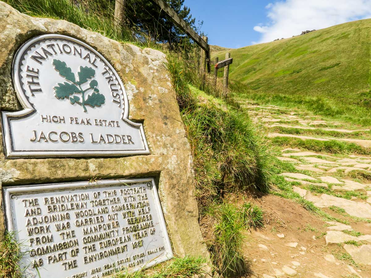 The foot of Jacob's Ladder on the Kinder Scout Hike in Peak District, England