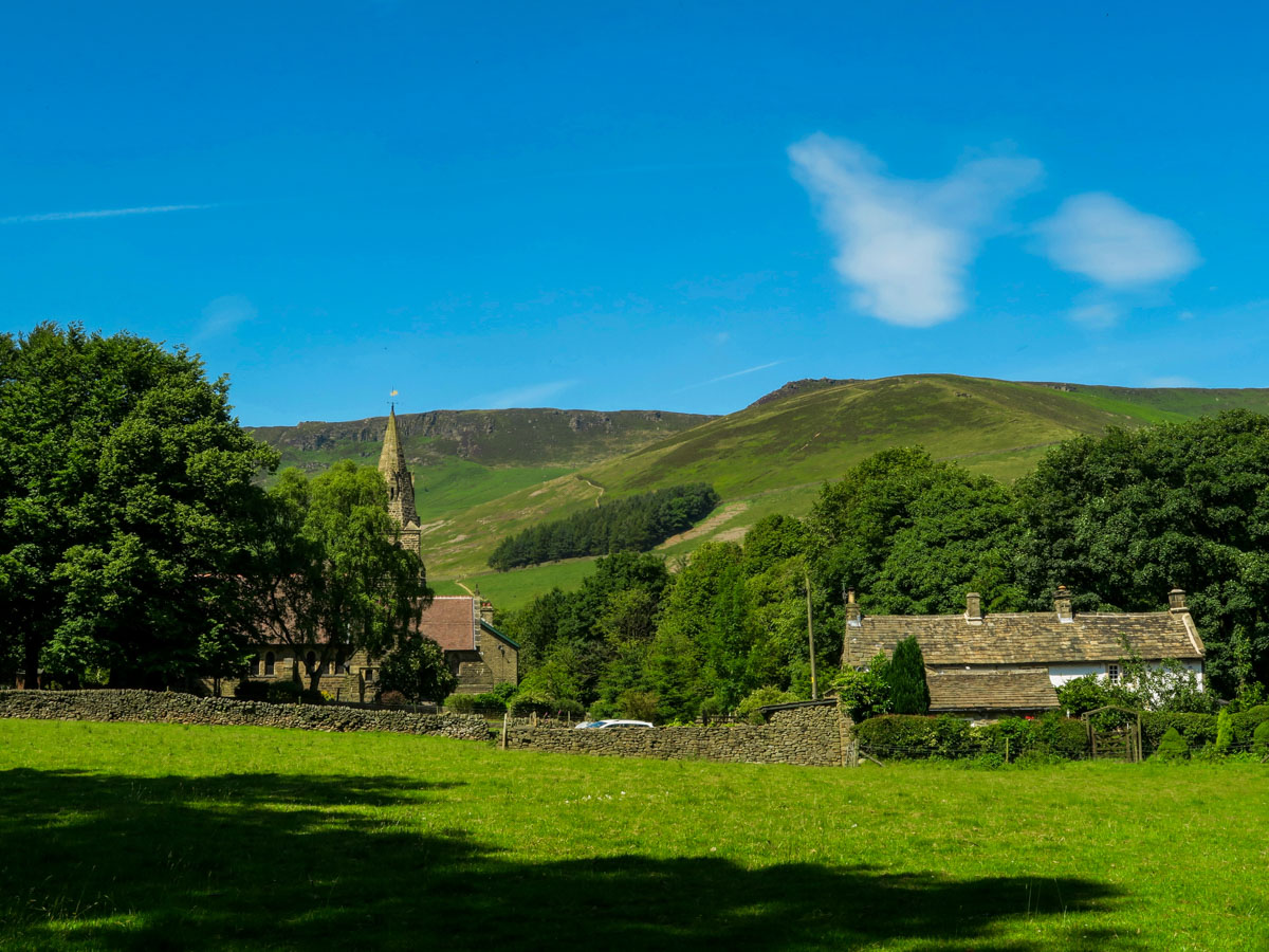 Edale Village on Kinder Scout Hike in Peak District, England