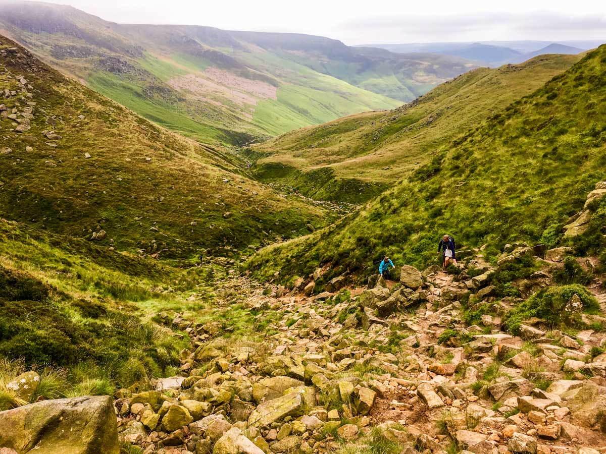 Final ascent on Kinder Scout Hike in Peak District, England