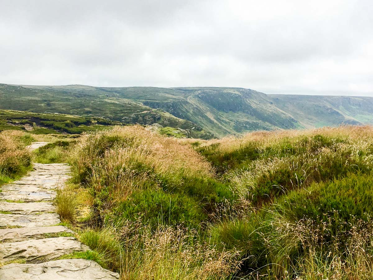 Path to Crowden Tower on the Kinder Scout Hike in Peak District, England